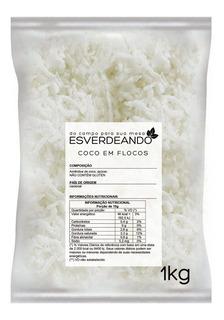Coco Ralado Em Flocos Sem Adição De Açúcar 1kg - Esverdeando