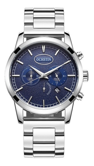 Relógio Pulso - Ochstin Fundo Azul 44mm Inox Quartzo