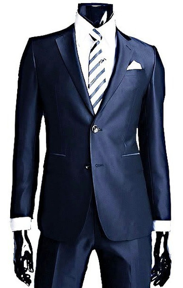 Traje Azul Saten Ambo Satinado Entallado C/ Pantalon Chupin!