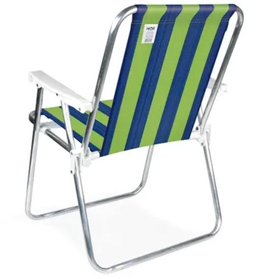 Cadeira Alta De Praia Em Alumínio Azul E Verde Mor