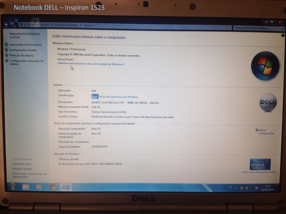 Notebook Dell Inspiron 1525, Semi-novo