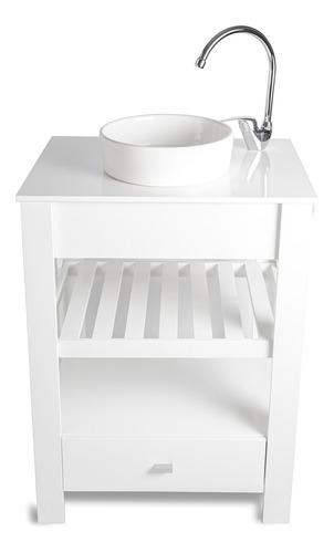 Vanitory 100% Laqueado Blanco 60cm Bacha Griferia Cuotas