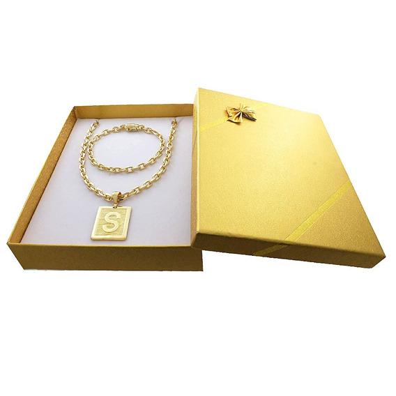 Corrente Banhada A Ouro 18k + Pulseira + Letra +box Presente