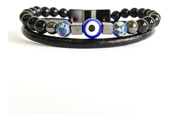 Pulseira Masculinas Couro Indiano Olho Grego Pedra Onix