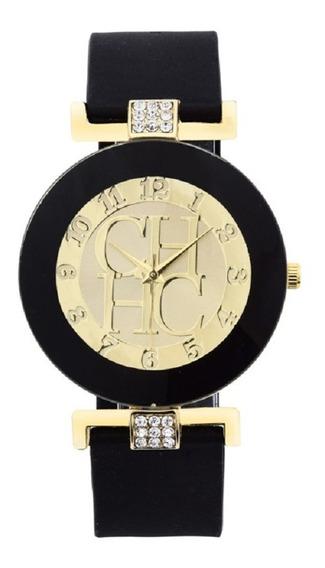 Relógio Carolina Herrera Preto Pulseira Silicone Promoção