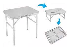 Mesa Para Camping Dobrável De Alumínio E Mdf 90x60x30/70cm