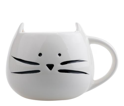 Imagen 1 de 6 de Taza De Ceramica Forma Cara Gato Gatito Bigotes Blanco H1212