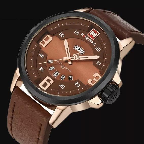 Relógio Luxo Masculino Couro Naviforce A Prova D