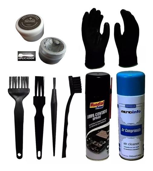 Kit Limpeza Anti Estático Esd Pincel Escova Luva Ar P. Prata