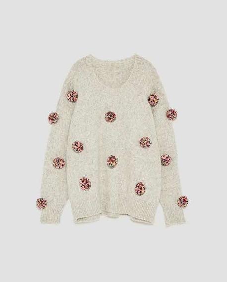 Sweater Marca Zara Mujer Importado Oversize Talle S Unico