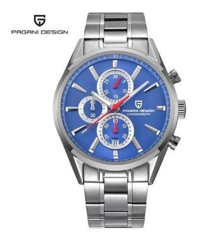 Relógio - Pagani - Original - Aço Inox - Estoque - F. Azul