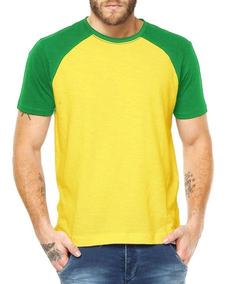 Camiseta Raglan Algodão Lisa Manga Colorida Camisa Blusa