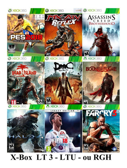 Jogos Patchs Xbox 360 Lt3, Ltu, Rgh, Xgd3 Kit 4 Unidades