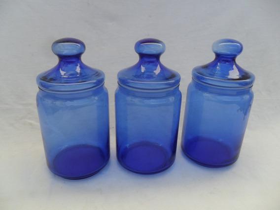 Lote 3 Frasco Hermetico Vidrio Azul Cocina Pote Decoracion
