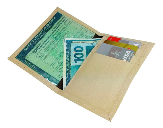 Carteira Couro Legítimo Porta Documentos Veículos Cnh Rg Cpf