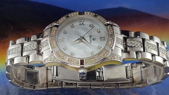 Relógio Bulova 96l116 Luneta E Pulseira Com Swarovski.