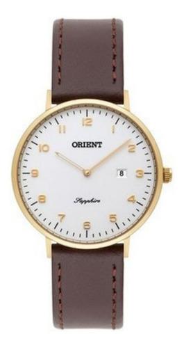 Relógio Orient Feminino Slim Dourado E Couro Safira Fgscs001