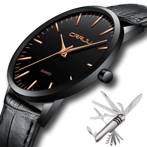 Relógio Masculino Casual Ultra Fino De Luxo E Canivete Inox