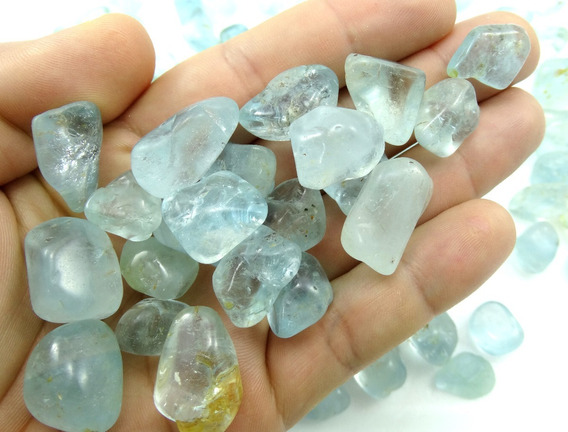 100 Gramas Topázio Azul Clarinho Natural Polido 1-2 Cm