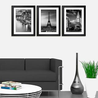 Quadro Veneza Paris Londres Preto Branco Decor Sala Kit C/ 3