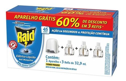 Kit Repelente Elétrico Raid 45 Noites / 3 Refis + 1 Aparelho
