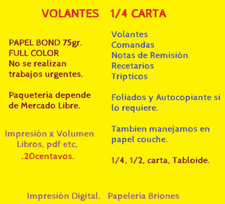 Volantes 1/4 Carta Bond Full Color