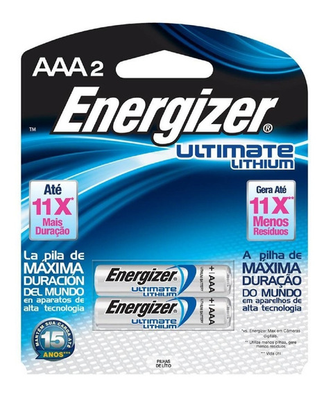 02 Pilhas Energizer Ultimate Lithium Aaa2 Palito