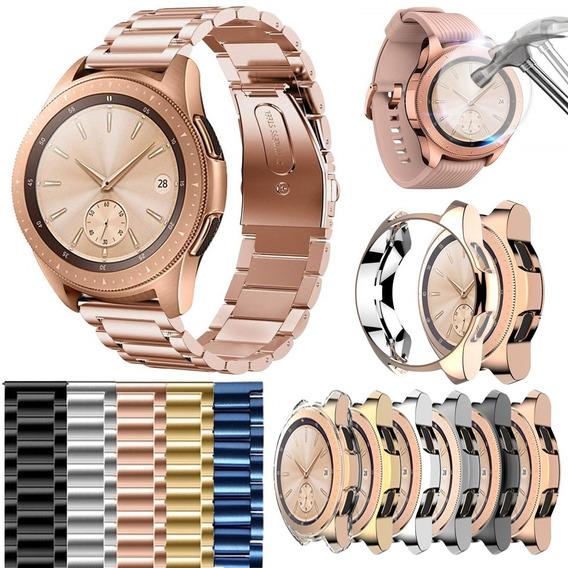 Combo Correa Eslabones + Case + Mica Para Galaxy Watch 42mm