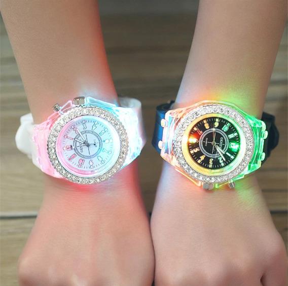 Relógio Geneva Led Várias Cores Oferta Original Qualidade