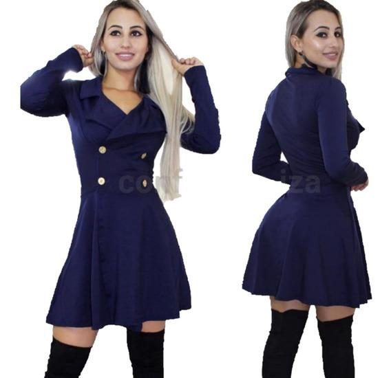 Sobretudo Feminino Festa Casaco Inverno Social Preto Azul
