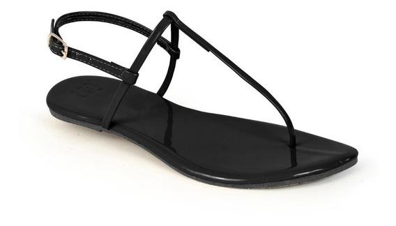 Sandália Flat Mercedita Shoes Verniz Ultra Macia Preta