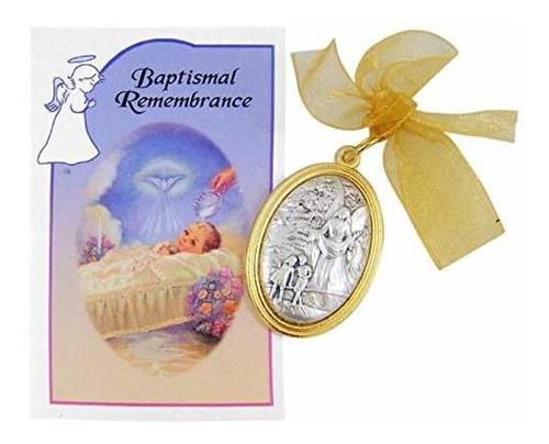 Angel De La Guarda Medalla De Cuna Con Bautismal Recuerdo Ce