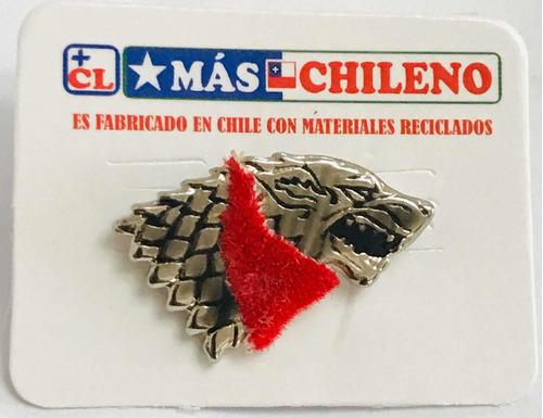 Pin Negro Matapacos Con Pañoleta De Tela Roja ( Got Stark )