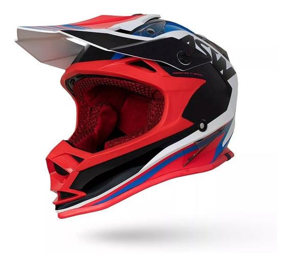 Capacete Asw Fusion Blast Vermelho Azul 62 Motocross Enduro