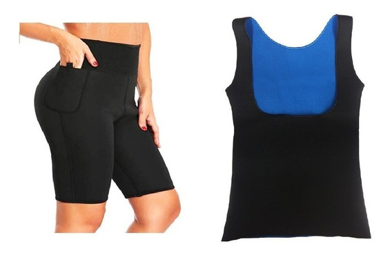 Short Bermuda + Blusa Feminina Emagrecedora Queima Gorduras