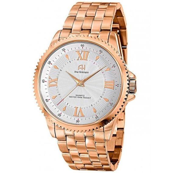 Relógio Feminino Ana Hickmann Analógico Ah28722z Rosê Baixou Preço Imperdível 1 Ano De Garantia