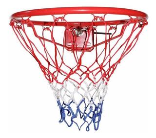 Aro De Basket Con Resorte + Red Basquet Volcada Hierro Doble