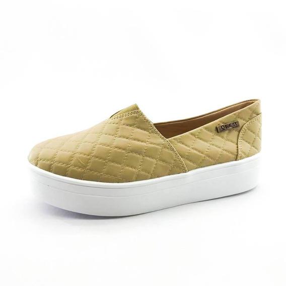 Tênis Flatform Quality Shoes 003 Matelassê Bege