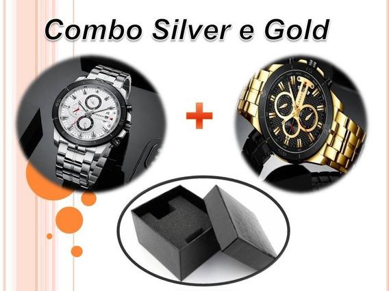 Combo Silver E Gold Relogio Curren 8337 Original