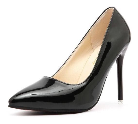 Zapatos Clásicos Stiletto Punta Pointed Charol Importado