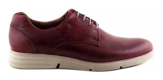 Zapato Cuero Hombre Bordo Confort Sport Goma Liso Hcac00938