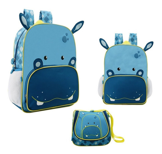 Kit Mochila Escolar Infantil Hipopotamo G Original + Brinde