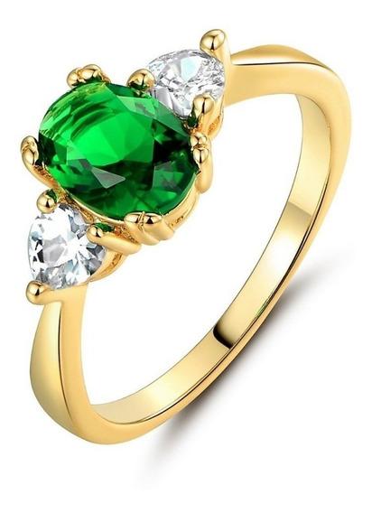 Anel 18k Ouro Goldfiled Zirconia Esmeralda C853