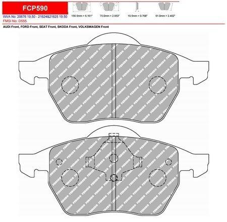 Pastillas Ferodo Fcp590e Vento Golf 3 4 Bora Audi A6  A8 Tt