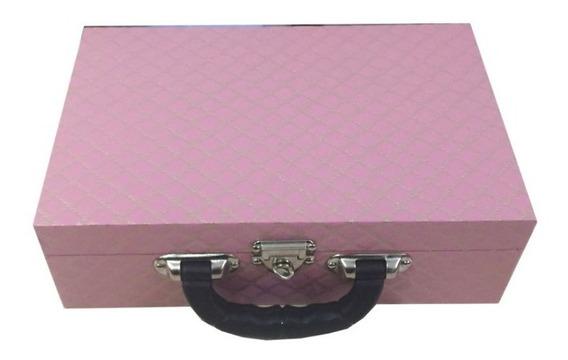 Maleta Estojo Porta Joias Duplo Com Interior Pink