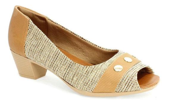 Sapato Feminino Tropical Rústico Usaflex Caramelo