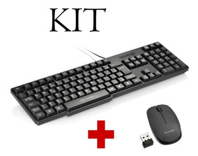 Kit Teclado Com Fio + Mouse Sem Fio Multilaser