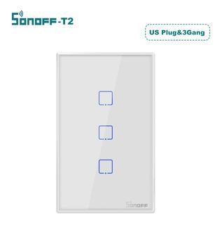Sonoff T2 Interruptor Inteligente Us Enchufe 100-240v 3 Gang