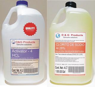 Clorito De Sodio Solucion 28% 4lt Y Activador Hcl 4% 4lt