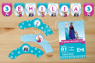 Frozen. Kit Imprimible Personalizado. Cumple Infantil Nena